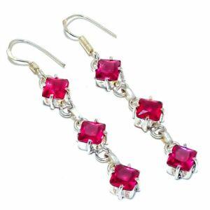 "Pink Tourmaline Gemstone 925 Sterling Silver Jewelry E-8 Earring 1.8"""