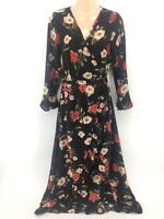 Women New PLUS SIZE Long Rose Floral Side Tie Frill Sleeve Wrap Dress UK16-24