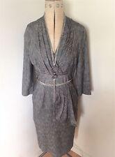 Ladies Grey Herringbone Wool Mix  High Fashion Pencil Dress Size 10