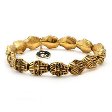 King Ice Antique Brass 14K Gold Plated Pharaoh Bracelet NWT