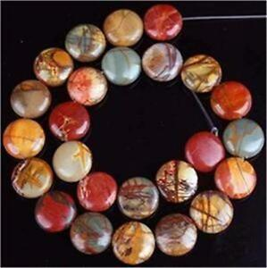 12mm Multicolor Picasso Jasper Gem Coin Loose Bead 15''AAA