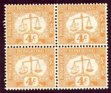 Hong Kong 1938 KGVI Postage Due 4c orange block of four superb MNH. SG D7.