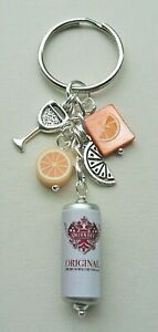 VODKA and ORANGE KEYRING Bag Charm SHELL Polymer Clay Beaded Silver   KCJ3065