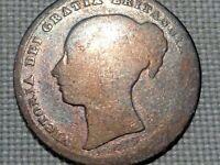 United Kingdom Brittain Empress Victoria 1846 1 Silver Shilling Young Portrait