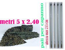 KIT TELO RETE MIMETICO MT5X2,40 PER CAPANNO CACCIA+ 4 PALI ASTE RAMAZZOLA CACCIA