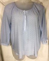 LC Lauren Conrad Womens Blouse Size L Sheer 3/4 Sleeve Blue Partial Button Front