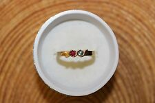 14K. YELLOW GOLD *** AQUAMARINE & RUBY STONE RING 3.2 GRAMS .10 TCW. SZ.9