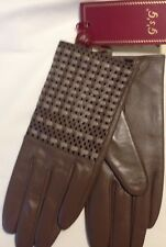 GSG Women's Winter Warm Perforated Leather Driving Gloves - YELLOW - Size 7/S