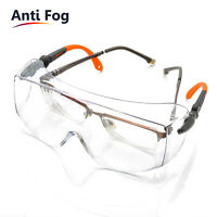 SAFEYEAR Safety Goggles Over Glasses Adjustable Neck Cord Anti-fog Large Z87+