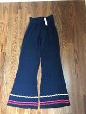 Women's NWT MICHAEL STARS Smocked Wide Leg Pant Double Gauze Ric Rac-Blue-Sz XS
