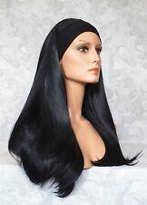 "22"" Long Straight Jet Black Synthetic HEADBAND Wig Wigs - #82"