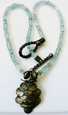 Hand crafted blue art glass beads silver tone pine cone pendant toggle necklace