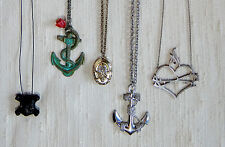 Vintage Tattoo Themed Necklace Lot  Nautical Themed Necklace Lot Pirate Jewels