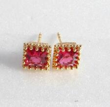 Women Girl Ruby Red Simulated Diamond 18K Gold Plated 7mm Medium Stud Earrings