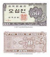 South Korea 50 Jeon 1962 P-29 Series 2 Banknotes UNC