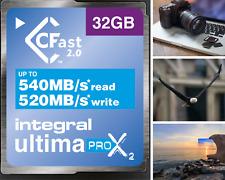 Integral 32GB CFast Card 2.0 ProX2 Read MB/s 540 (3600X), Write MB/s 520 (3466X)