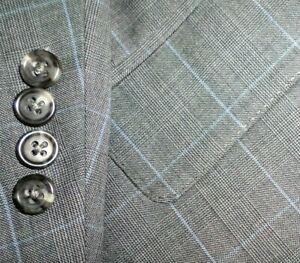 CUSTOM MADE mens suit GRAY w/ BABY BLUE WINDOWPANE PLEAT FRONT 50L 50 e60