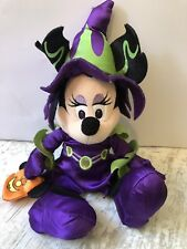 Disney Parks Purple Dress Witch Minnie Mouse Halloween Soft Toy 13""