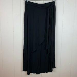 A New Day Black Women's Wrap Around Hi-Low Maxi Skirt Waist Tie Black M
