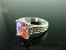 Sterling Silver Antique Style Filigree Ring With Pink Ice Cz Gemstone 10x8mm Rin