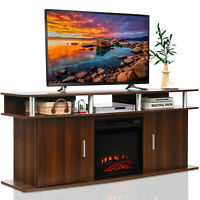 "Costway 63"" Fireplace TV Stand W/18"" 1400W Electric Fireplace up to 70"" Walnut"