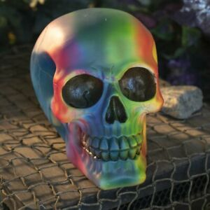 Colorful Rainbow LGBT Halloween Skull Spooky Decoration Resin Figurine Statue