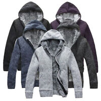 Mens Cardigan Sweater Thick Fur Wool Lining Knitted Jacket Winter Hooded Coat