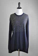 MICHAEL MICHAEL KORS $130 Solid Gold Studded Yoke Sweater Top Size Large