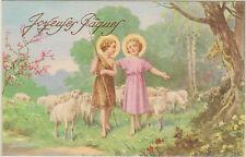 ANCIENNE IMAGE PIEUSE CARTE POSTALE PAQUES JESUS/ENFANT/BREBIS/ARBRE EN FLEUR