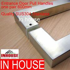 2x Entrance Door Handles- SQ-Satin Stainless Steel 600mm