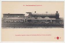 CARTE POSTALE LOCOMOTIVE A GRANDE VITESSE DU CALEDONIAN RAILWAY 6 ROUES ACCOUPLE