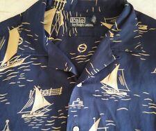 Polo Ralph Lauren Men's Sailboat themed Camp Shirt Sz M Silk Linen Blend VTG