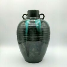 Vintage Large Dark Green Pottery Jug Vase Drip Glaze Double Handle 8 1/2
