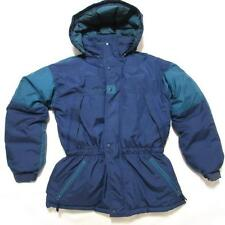 VINTAGE COLUMBIA YOUTH 18/20 USED GREEN/NAVY BLUE NYLON DOWN PUFFER JACKET/PARKA