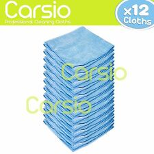 12x Blue Car Cleaning Detailing Microfiber Soft Polish Cloths / Towels Lint Free
