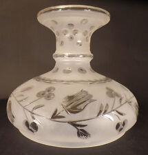 "10"" Fitter Hand Cut Copper Wheel Bell Flower Design Astral Glass Lamp Shade"