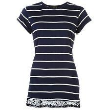 Lace Short Sleeve Regular Size Basic T-Shirts for Women