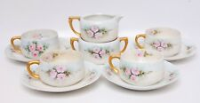 Antique Bavarian Teacups Saucers Sugar Creamer Hand Painted Germany 1898 - 1923