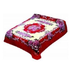 Solaron BM60 Roses Flower Korean Thick Mink Soft Plush Twin Size Blanket Red