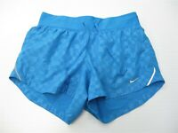 NIKE Women's Size XS DRI FIT Training Inner Brief Blue Check Crew Running Shorts