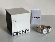NEW! DKNY DONNA KARAN CRYSTAL BEZEL WHITE LEATHER BRACELET WATCH NY8136 $95 SALE