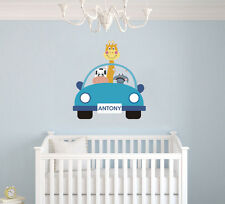 Custom Animals Car Name Wall Decal / Kids Room Decor / Nursery Wall Decor