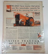 Vintage Advertisement United Tractors and Equipment 1929 Farming Agriculture