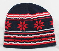 Fila Mauro Knitted Skull Beanie Ski Hat Nordic Winter Unisex Navy Acrylic BNWT