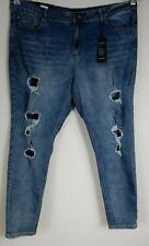 b18fc0b4e94 City Chic Blue Fishnet Rip SKINNY Stretch Denim Jeans Plus Size 22s T80