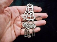 Vintage Silver Tone 1970's Tribal Feel Extra Long Chain Necklace