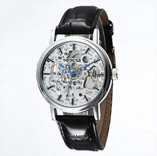 Silver Heirloom Mechanical Windup Skeleton Steampunk Black Leather Unisex Watch