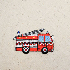 Iron On Embroidered Applique Patch Rescue Fire Engine Truck with Ladder Large