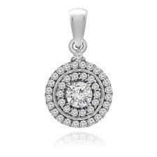 1.00ct Ladies Diamond Round Halo 2 Row Pendant Necklace in 14K White Gold