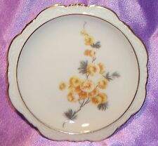 Estate Collectable Bavaria Germany Gold Rim Flower Pin Butter Pat Dish ~ Vintage